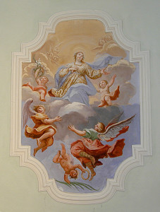 Affresco raffigurante Santa Lucia in Gloria